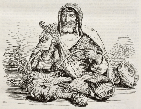 ancestry: Jewish musician in Mogador, Morocco, old illustration. Created by Delacroix, published on Magasin Pittoresque, Paris, 1842