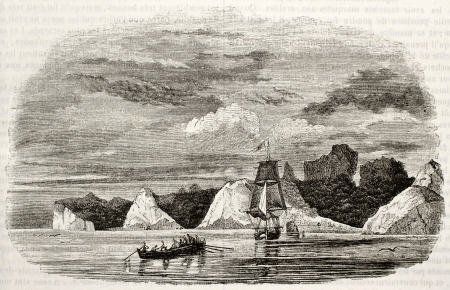 juan: Juan Fernandez islands old view (probably Robinson Crusoe dwelling in Defoe inspiration). Created by Lebreton, published on Magasin Pittoresque, Paris, 1842