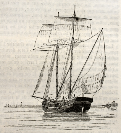 Koff old illustration (Dutch vessel). By unidentified author, published on Magasin pittoresque, Paris, 1842