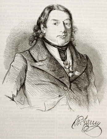 Dominique Jean Larrey old engraved portrait and signature (French surgeon in Napoleon army). By unidentified author, published on Magasin Pittoresque, Paris, 1842