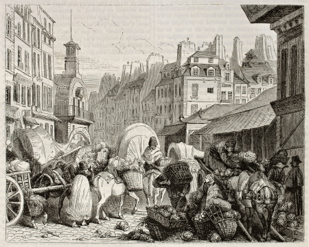merchant: Les Halles old view, Paris. Created by Girardet, published on Magasin Pittoresque, Paris, 1842
