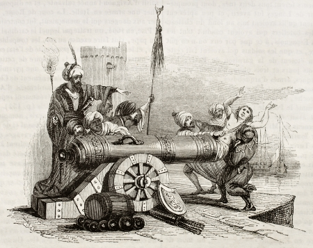 retaliation: French consul in Algiers (vicar Apostolic Jean Le Vacher) inserted in a cannon and shot as reprisal for Algiers bombing by French fleet. By unknown author, publ. on Magasin Pittoresque, Paris, 1842