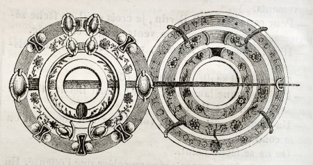 ix: Brooch from Louis IX cloak, old illustration. By unidentified author, published on Magasin Pittoresque, Paris, 1842 Editorial