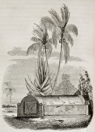 Malaysian tomb in Timor, Lesser Sunda islands. By unidentified author, published on Magasin Pittoresque, Paris, 1842 Stock Photo - 15269915