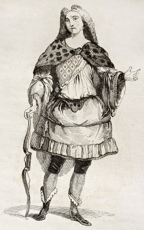 printmaking: Man in costume old illustration. By unidentified author, published on Magasin Pittoresque, Paris, 1842 Editorial