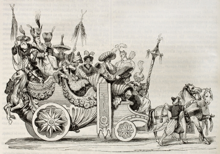 chariot: Roman carnival chariot old illustration. Created by Vien, published on Magasin Pittoresque, Paris, 1842