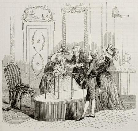magnetismo: Mesmer Baquet viejo ilustración. Por autor no identificado después de la impresión de 1784, publicada en Magasin Pittoresque, París, 1842