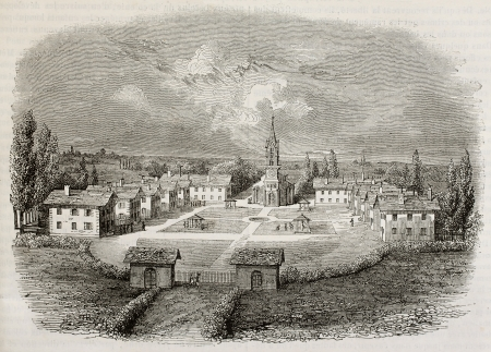colonies: Mettray agricultural colony old view, Tours surroundings, France. By unidentified author, published on Magasin Pittoresque, Paris, 1842 Editorial