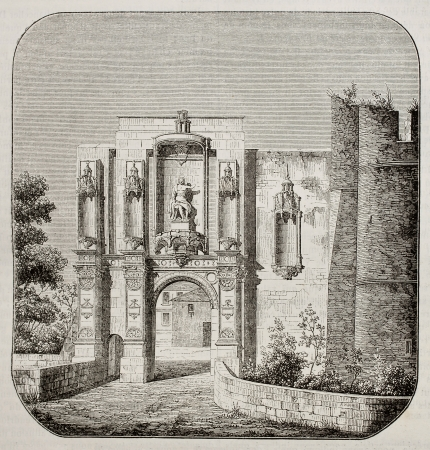 Nantouillet castle entry, France. By unidentified author, published on Magasin Pittoresque, Paris, 1842 Stock Photo - 15270375