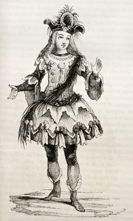 18th century costume, old illustration. By unidentified author, published on Magasin pittoresque, Paris, 1842