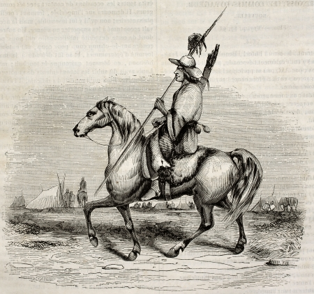 Patagon knight old illustration. Created by Lebreton, published on Magasin pittoresque, Paris, 1842