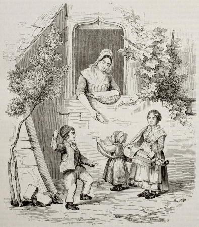 Piedmontese children and woman old illustration. Created by Blondel, published on Magasin Pittoresque, Paris, 1842