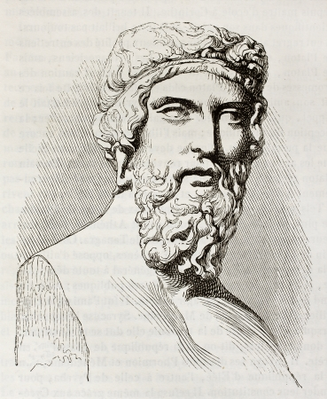 ancient philosophy: Plato, the famous, classical Greek philosopher, bust kept in Louvre museum. By unidentified author, published on Magasin Pittoresque, Paris, 1842