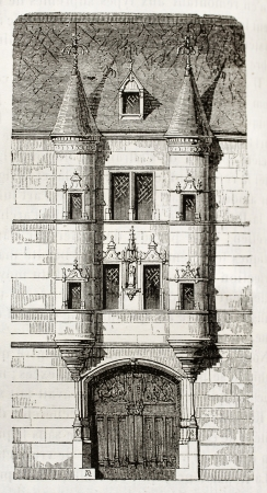 printmaking: 16th century house in Reims, France. By unidentified author, published on Magasin Pittoresque, Paris, 1842