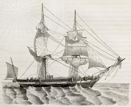 historische: Snow (type brik) oude illustratie. Door onbekende auteur, gepubliceerd op Magasin Pittoresque, Parijs, 1842