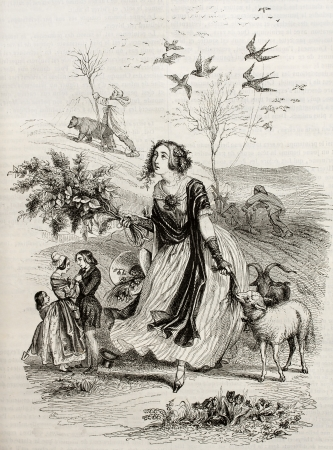 femal: Springtime old allegorical representation. Created by Grandeville, published on Magasin pittoresque, Paris, 1842 Editorial