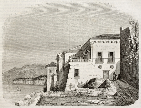 mediterranean house: Italian poet Torquato Tasso house near Sorrento, Italy. By unidentified author, published on Magasin Pittoresque, Paris, 1842