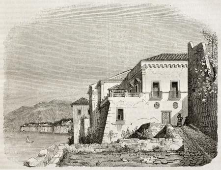 sorrento: Italian poet Torquato Tasso house near Sorrento, Italy. By unidentified author, published on Magasin Pittoresque, Paris, 1842