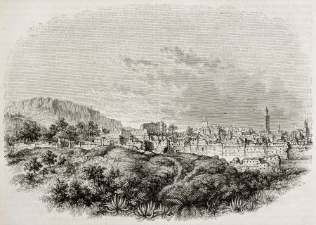 Tlemecen old view, Algeria. Created by Wiesner after Genet, published on Magasin Pittoresque, Paris, 1842 Stock Photo - 15269952
