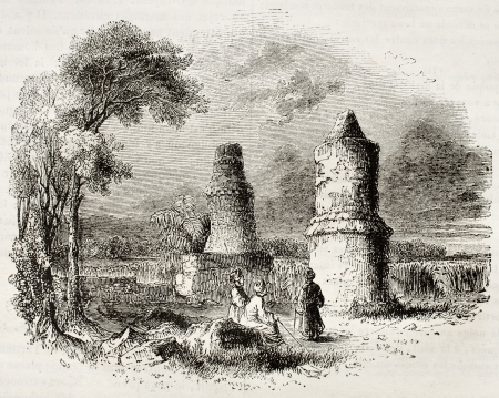Tombs near Tartous, old view, Syria. By unidentified author, published on Magasin Pittoresque, Paris, 1842