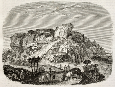 biblical: Tower of Babel ruins old illustration. By unidentified author, published on Magasin Pittoresque, Paris, 1842 Editorial
