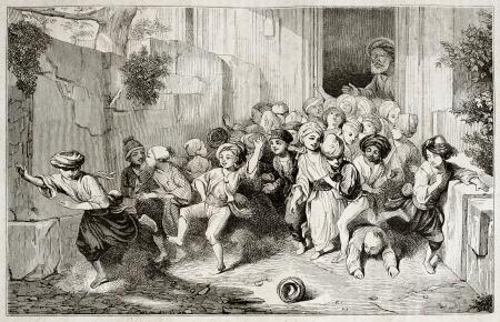 niños saliendo de la escuela: Niños salida de la escuela turca. Creado por Seguin después de la acuarela de Decamps, publicado el Magasin Pittoresque, París, 1842 Editorial