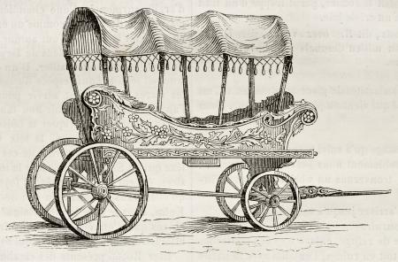 carreta madera: Araba vieja ilustración (carretera vieja de Turquía para las mujeres). Por autor no identificado, publicado el Magasin Pittoresque, París, 1842