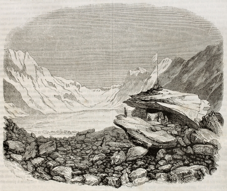 Unteraar Glacier old view, Canton of Berne, Switzerland. By unidentified author, published on Magasin Pittoresque, Paris, 1842