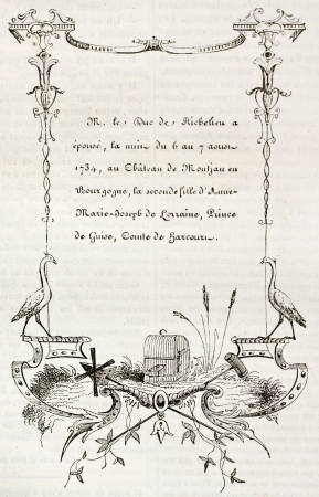 18th century wedding card. By unidentified author, published on Magasin Pittoresque, Paris, 1842 Stock Photo - 15269899