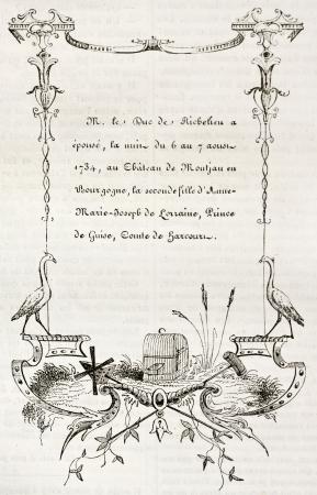 marcos decorados: Siglo 18 tarjeta de boda. Por autor no identificado, publicado el Magasin Pittoresque, Par�s, 1842 Editorial