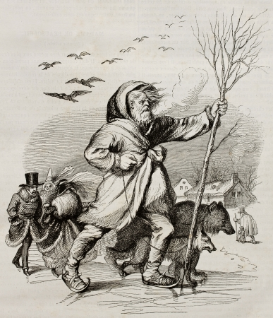 allegoric: Winter, old allegoric illustration. Created by Grandville, published on Magasin Pittoresque, Paris, 1842.