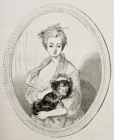 Woman portrait kept in Angers museum. Created Germain after painting of Greuze, published on Magasin Pittoresque, Paris, 1842 Stock Photo - 15269916