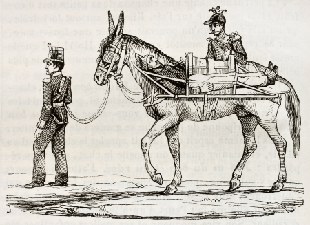 French army method of wounded soldiers transportation during Algerian war. By unidentified author, published on Magasin Pittoresque, Paris, 1842