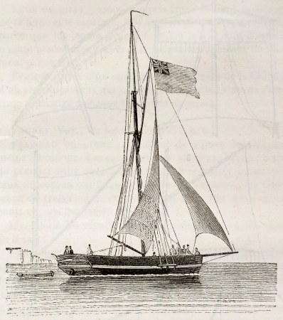 Yacht old illustration. By unidentified author, published on Magasin Pittoresque, Paris, 1842