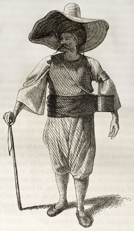Algerian man old illustration. By unidentified author, published on Magasin Pittoresque, Paris, 1843 Stock Photo - 15269975