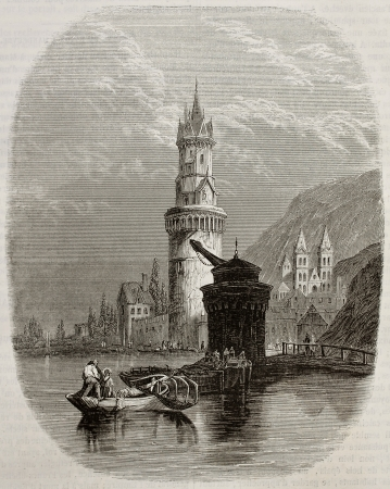 fluvial: Andernach old view, Germany. By unidentified author, published on Magasin Pittoresque, Paris, 1843