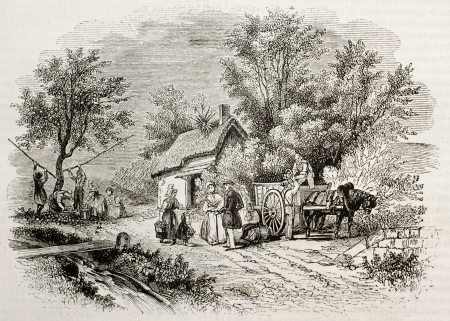 horse cart: Apple harvesting in Normandy, France. By unidentified author, published on Magasin Pittoresque, Paris, 1843 Editorial