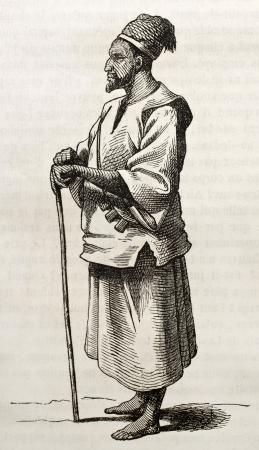 Arab man old engraved portrait. By unidentified author, published on Magasin Pittoresque, Paris, 1843 Stock Photo - 15269970