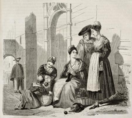 gomitoli di lana: Arles donne in costumi tradizionali, illustrazione vecchio. Creato da Montigneul, pubblicato il Magasin Pittoresque, Parigi, 1843 Editoriali