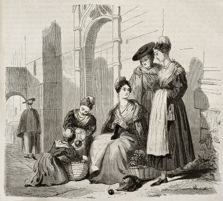 arles: Arles women in traditional costumes, old illustration. Created by Montigneul, published on Magasin Pittoresque, Paris, 1843