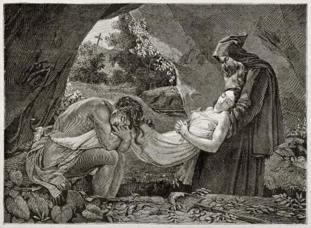 dead girl: Atala burial old illustration, Created by Girardet after picture of Girodet kept in Louvre museum. Published on Magasin Pittoresque, Paris, 1843 Editorial
