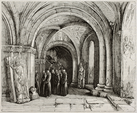 crypt: Monks carrying a coffin in Basel cathedral crypt. Created by Renoux, published on Magasin Pittoresque, Paris, 1843 Editorial