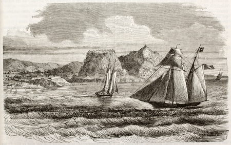 lesser: Basse-terre island old view, Guadeloupe. By unidentified author, published on Magasin Pittoresque, Paris, 1843 Editorial