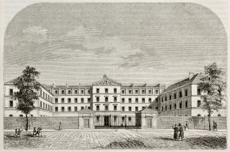 Royal Institution for blind youth building in Paris. By unidentified author, published on Magasin Pittoresque, Paris, 1843 Stock Photo - 15270391
