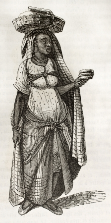 Bread seller woman old illustration. By unidentified author, published on Magasin Pittoresque, Paris, 1843 Stock Photo - 15270493