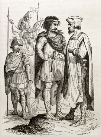 Charles the Bald courtiers old illustration. By unidentified author, published on Magasin Pittoresque, Paris, 1843 Editorial