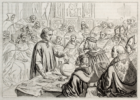 Christopher Columbus showing his projects to Salamanca council. Created by Colin,  published on Magasin Pittoresque, Paris, 1843