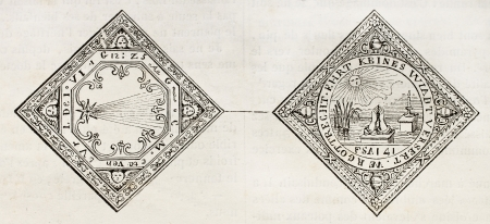 coined: Medal celebrating 1618 comet, old illustration. By unidentified author, published on Magasin Pittoresque, Paris, 1843