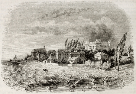 printmaking: Coppet old view, Switzerland. Created by Girardet, published on Magasin Pittoresque, Paris, 1843 Editorial