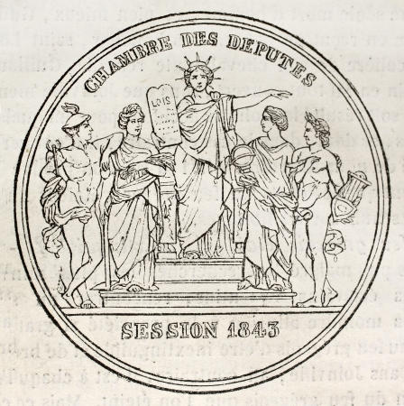 French Chamber of Deputies celebrating medal. By unidentified author, published on Magasin Pittoresque, Paris, 1843